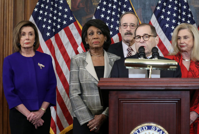 House Democratic committee chairs announce articles of impeachment against President Trump on Capitol Hill in Washington